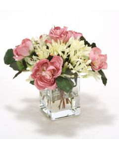 Waterlook® Cream White Agapanthus, Mauve Roses and Greenery in Tall Cylinder Glass