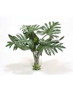 Philodendron and Exotic Bird of Paradise in Glass Vase