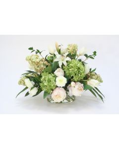 Mixed Cream Pink Peonies and Lilies, White Tulips, Green Hydrangeas in Oval Glass