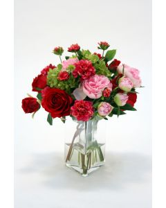 Waterlook&Reg; Red Roses Pink Peonies and Fushia Dahlia in Triangle Vase