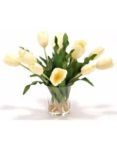 Waterlook® Cream White Tulips in Glass Vase