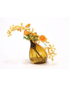 Waterlook® Yellow Orange Vanda Orchids with Gold Ranunculus in Amber Gourd Vase