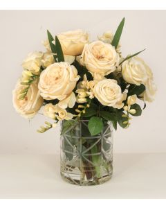 Waterlook® Champagne and Cream Roses and Freesia in Cut Glass Cylindervase
