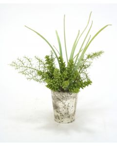 Waterlook® Grass, Safari Pine and Succulents in Aged Mercury Glass Vase
