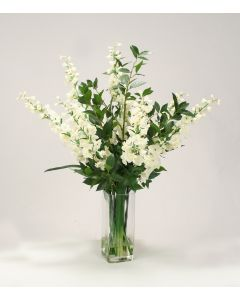 Waterlook® Vanilla Delphiniums and Greenery in Clear Square Glass