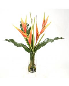 Waterlook® Dark Rose Heliconia and Tacca Orchid Leaves in Glass Vase