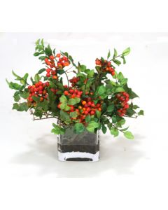 Waterlook® Red Wild Berries and Mountain Ivy in Square Glass Vase