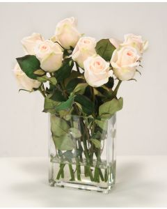 Waterlook® Champagne Rose Buds in Rectangular Vase