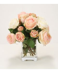 Pink and Cream Roses in Clear Vase