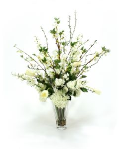 Waterlook® Cream White Garden Mix in Fluted Glass Vase