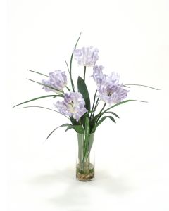 Waterlook® Soft Blue Parrot Tulip with Grass in Glass Vase
