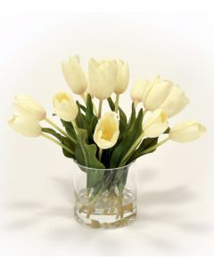 Waterlook® White Tulips in Glass Vase