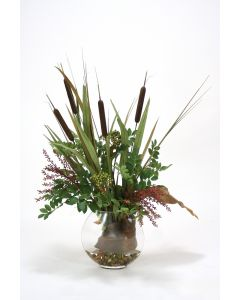 Waterlook® Cattails with Berries and Grass in Glass Disc