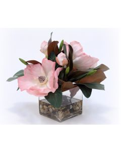 Waterlook® Soft Pink Magnolia Blooms and Foliage in Square Glass Vase