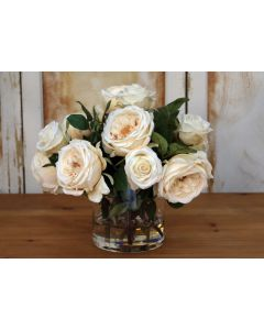 Waterlook® Cream Roses in Glass Cylinder Vase