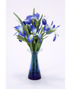 Waterlook® Blue Iris in Blue Glass Vase