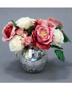 Waterlook® Pink and White Roses in Mercury Glass