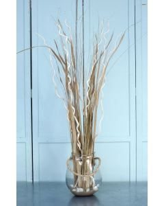 Waterlook® Corkscrew Willow and Grass with Sand and Shells in Glass