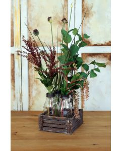 Waterlook® Poke Berries, Elm, Allium, Grass And Thistles In A Crate Of Glass Bottles