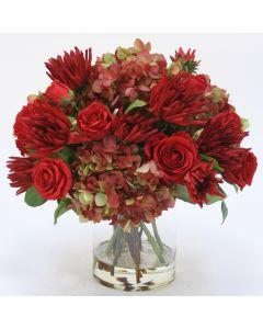 Waterlook® Hydrangea, Red Rose, and Dahlia