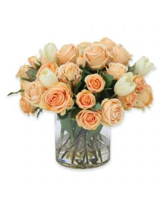 Waterlook&Reg; Peach Roses and Tulips in Clear Glass Vase