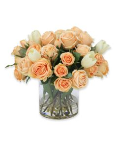 Waterlook® Peach Roses and Tulips in Clear Glass Vase