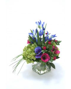 Green Hydrangea, Blue Iris with Fuchsia Anemones in Square Glass Vase