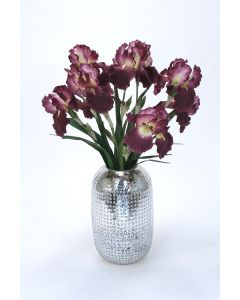 Waterlook® Purple Iris in Tall Hobnail Glass Container