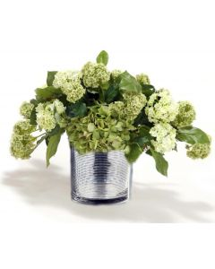 Waterlook® Mixed Cream Green Hydrangeas and Basil in Silver Ringed Glass Vase