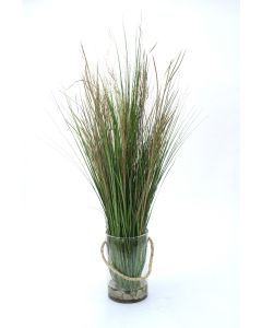 Waterlook® Tall Grass with White Rocks in Clear Glass Cylinder with Rope