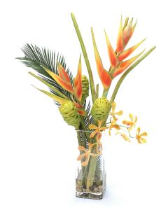 Waterlook® Dark Orange Helaconia and Green Honeycomb Protea in Tall Square Glass Vase