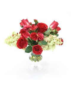 Waterlook&Reg; Red Roses, Tulips and Dahlias With Cream Green Hydrangeas in Clear Glass Urn