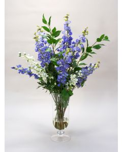 Blue and White Delphiniums in Glass Urn