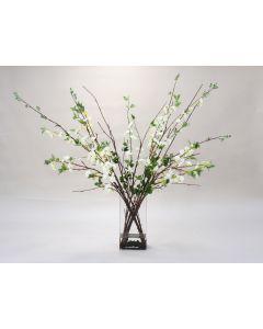 White Cherry Blossoms in Glass Vase