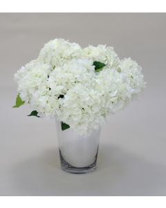 White Hydrangeas in Mirrored Vase