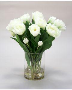 White Parrot Tulips in Glass Vase