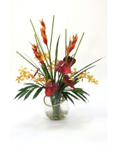 Heliconia and Anthurium in Glass Vase