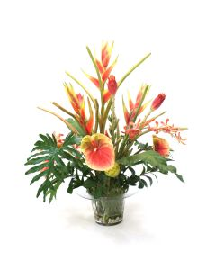 Tropical in Glass Flower Pot