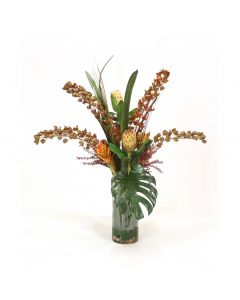 Dendrobium Orchid with Protea and Berries