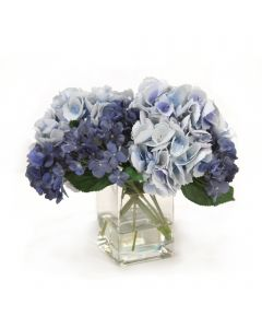 Blue and Navy Hydrangeas in Square Vase