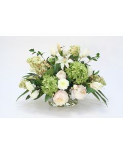 Mixed Pink and Green Garden Flowers in Oval Glass