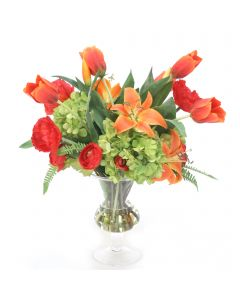 Mix of Poppies, Tulips, and Hydrangeas in Glass Vase