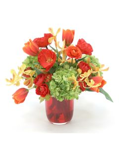 Red Orange Tulip, Yellow Orange Vanda, Hydrangea, and Poppy in Glass Vase