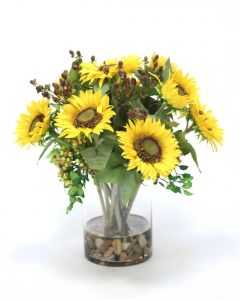 Sunflowers and Berries in Clear Glass Cylinder