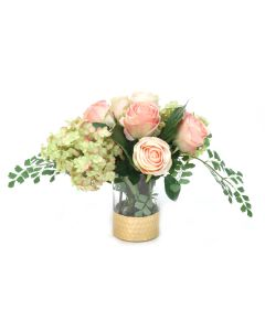 Green Rose Hydrangeas and Pink Champagne Roses with Maiden Hair Fern in Glass Cylinder Vase with Gold Rimmed Base