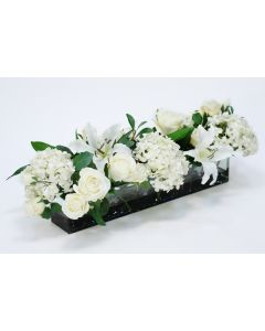 Cream White Roses, Hydrangeas and Lilies in Glass Plate Planter