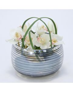 Orchids in Black Ring Glass Bowl
