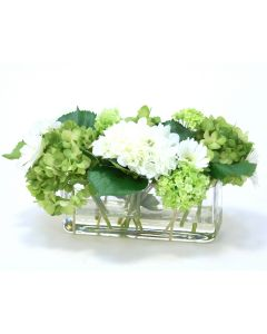 Green and White Hydrangea Mix in Rectangle Vase