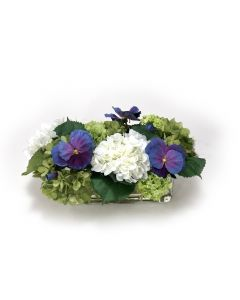 Hydrangrea Mix with Blue Pansies in Rectangle Vase