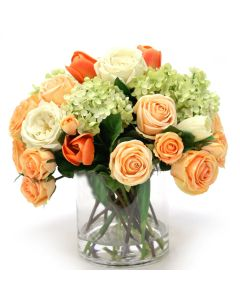 Peach and Cream Green Mix of Tulips, Roses, and Hydrangeas in Glass Cylinder